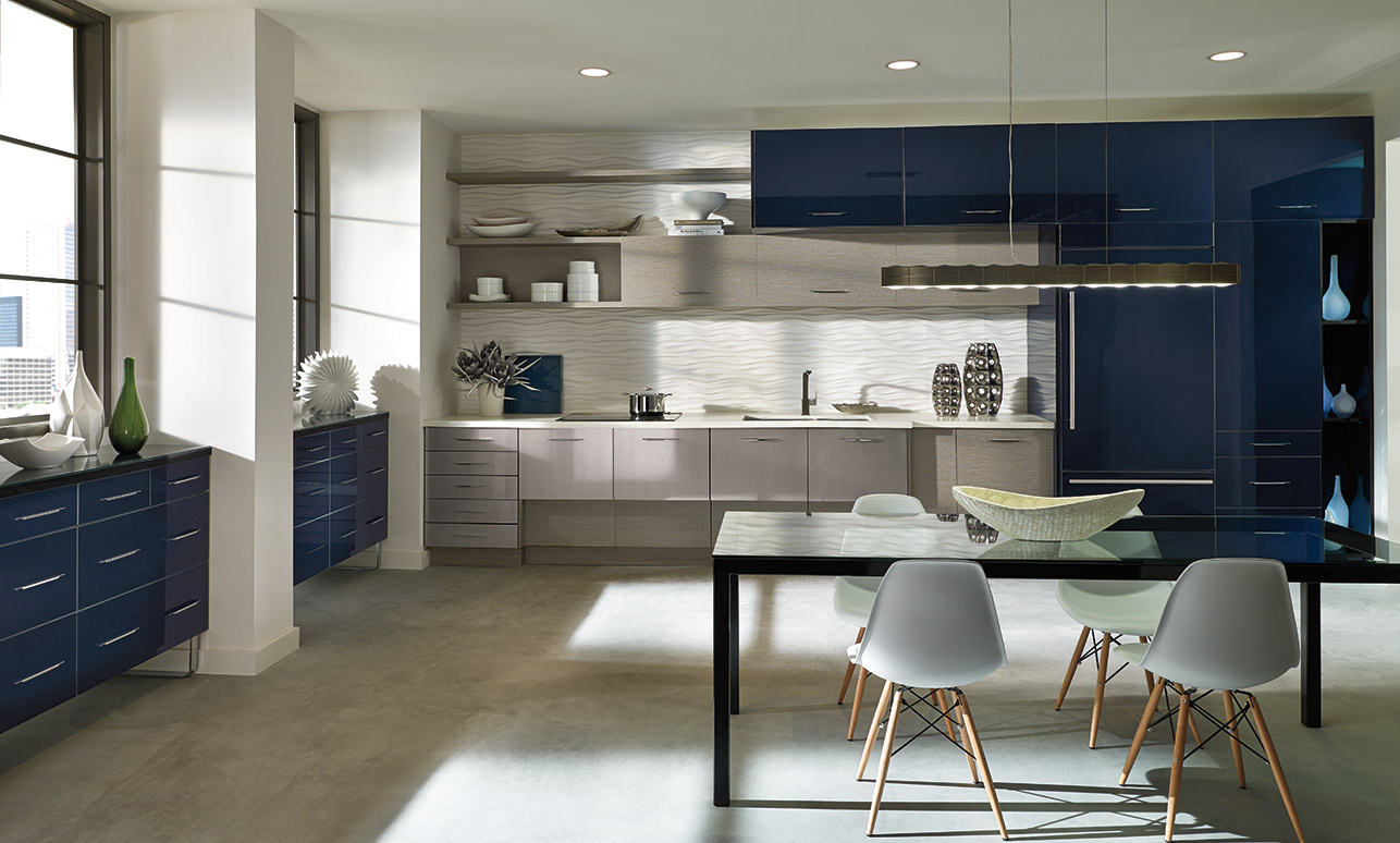 Summit acrylic kitchen cabinets with Contempra melamine accents