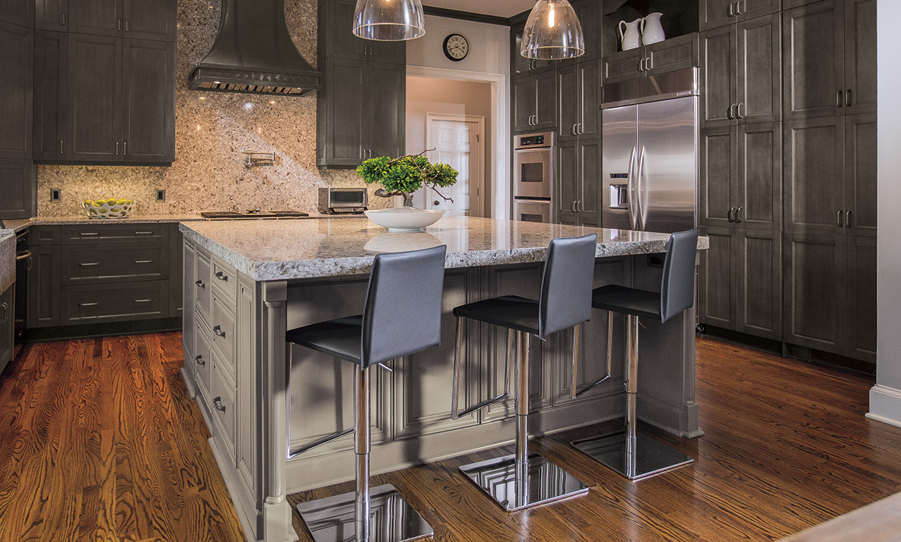 Traditional kitchen with Lexington gray kitchen cabinets in Weathered Slate with a Portabello island