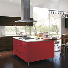 Calvi red kitchen island cabinets
