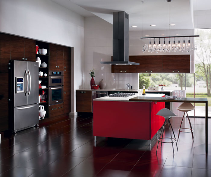 Red High Gloss Thermofoil Cabinets