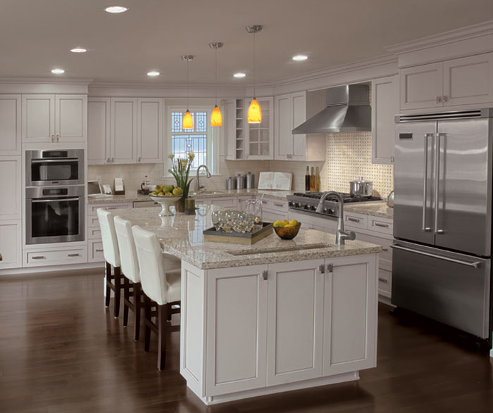 Painted kitchen cabinets in alabaster by Kitchen Craft Cabinetry